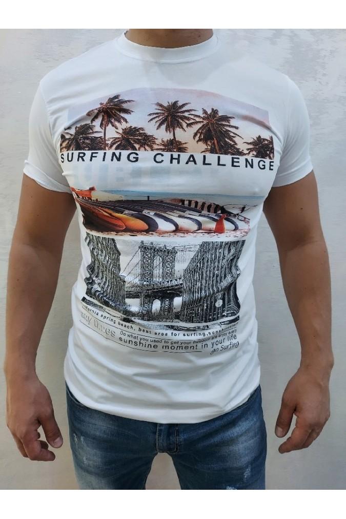 Мъжка тениска бяла със щампа Expert we1021