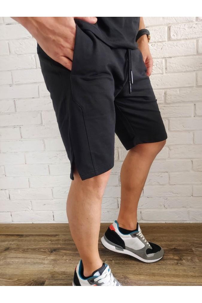 Мъжки къси панталони памучни черни Pep X8190