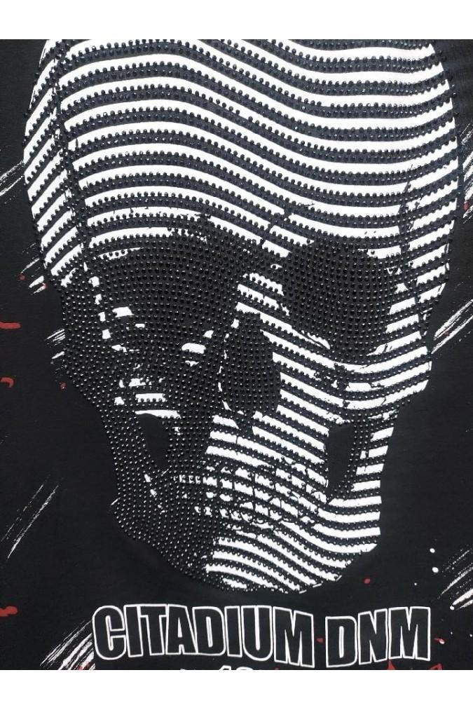 Мъжка тениска черна с череп CITADIUM