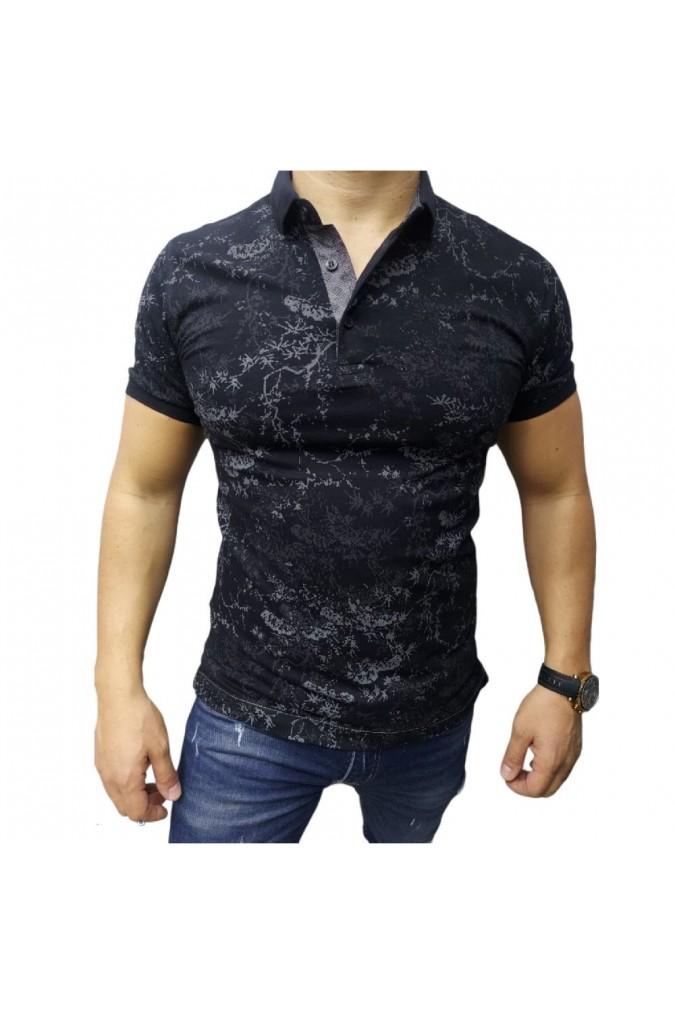 Мъжка тениска с яка черна  11-5043 ette