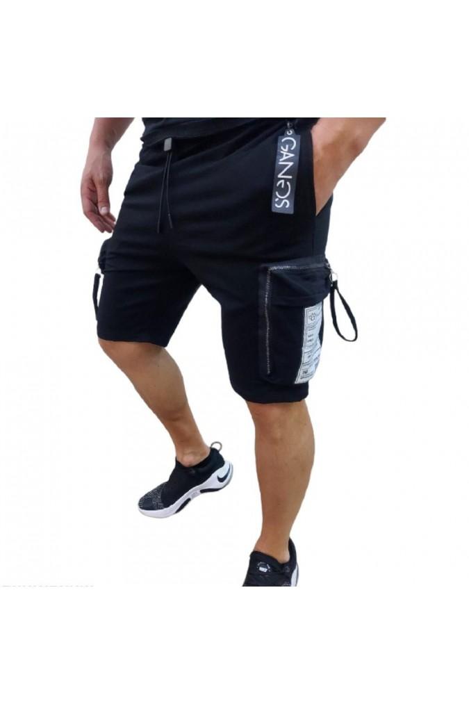 Мъжки къси панталони черни със странични джобове 8016