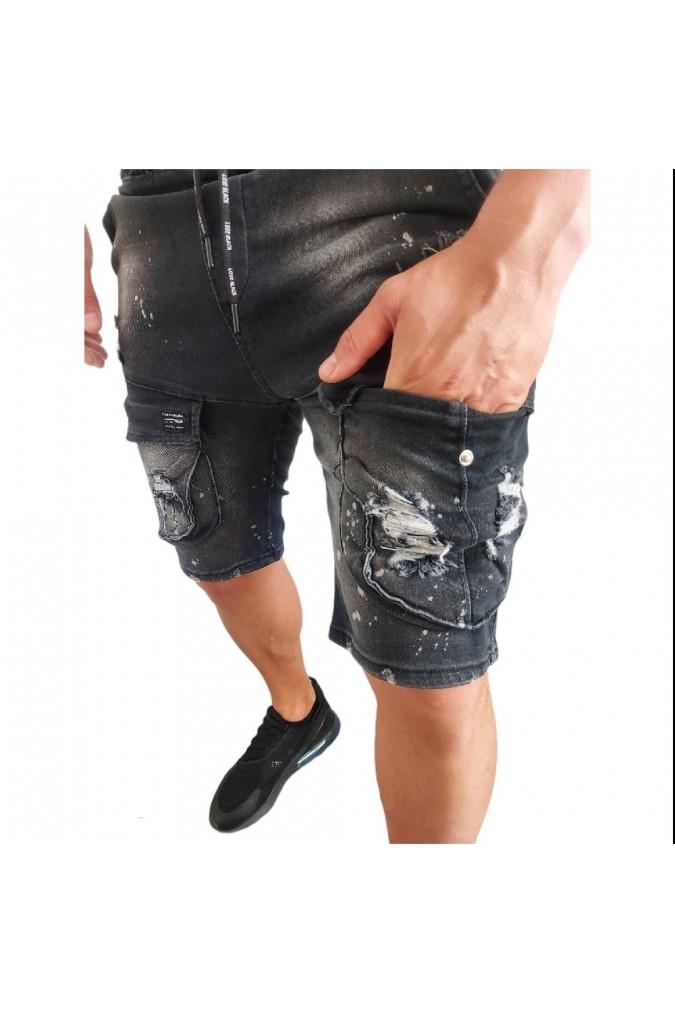 Мъжки дънки къси сиви с джобове LOSE