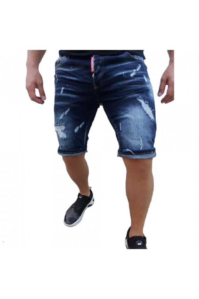 Мъжки дънки къси сини с пръски боя и накъсано ICON2  2406