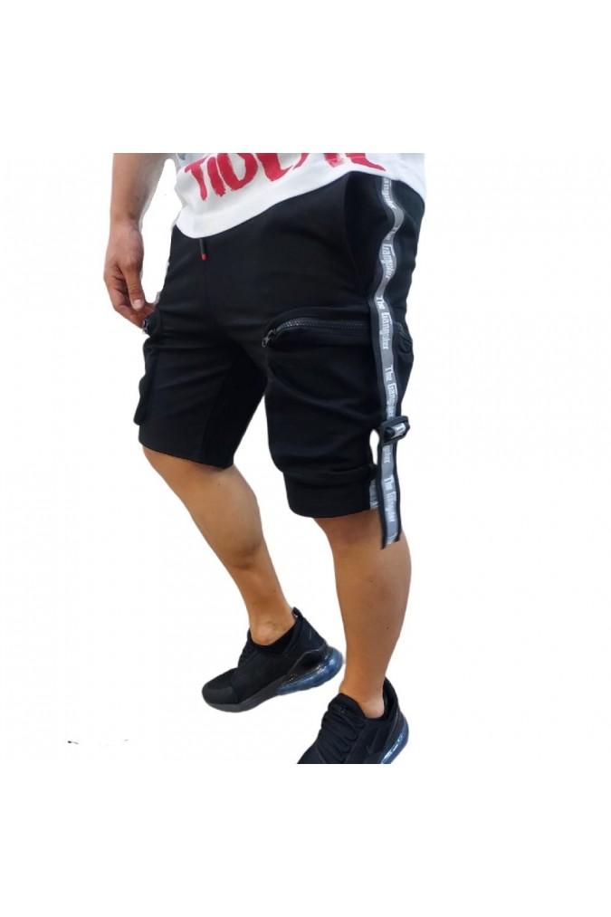 Мъжки къси панталони спортни черни със странични джобове gangster G-3013
