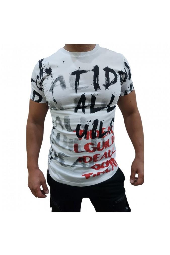 Мъжка тениска  бяла с надписи 7234  MEXICO