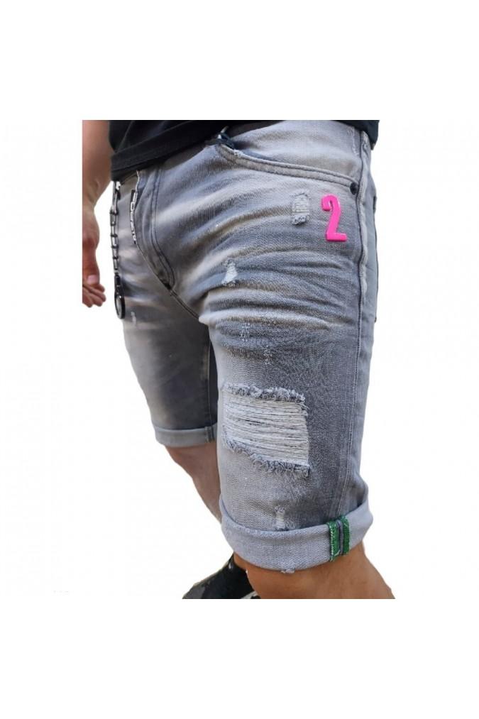Мъжки дънки къси сиви с пръски боя ICON2 2409