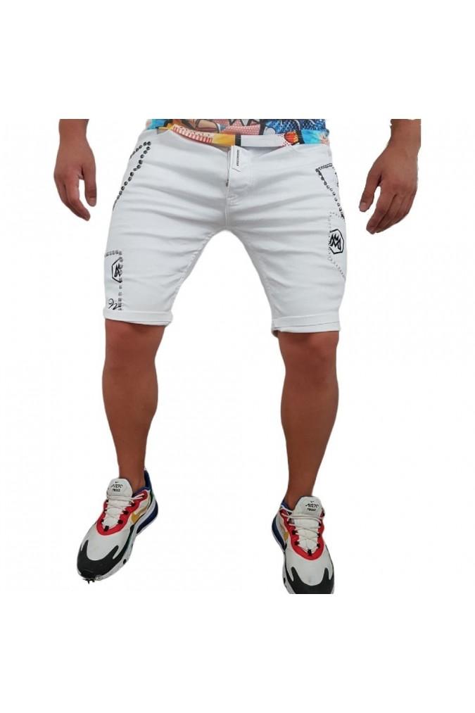 Мъжки дънки къси бели с капси 2255-118-A09