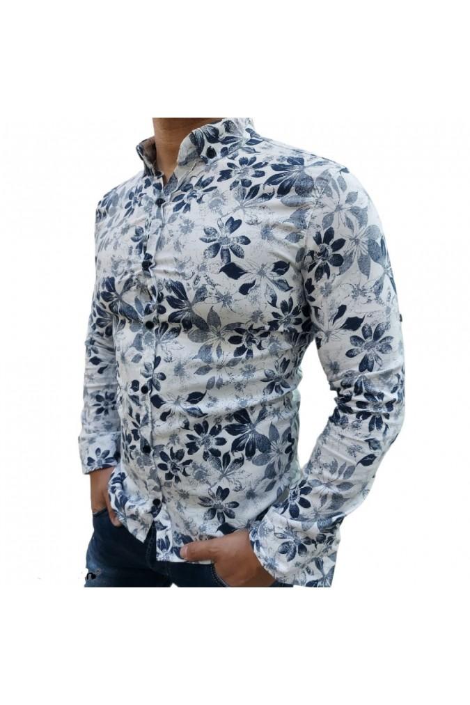 Мъжка риза бяла на цветя Bossy men