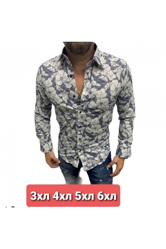 Мъжка риза бяла на цветя голяма bentli