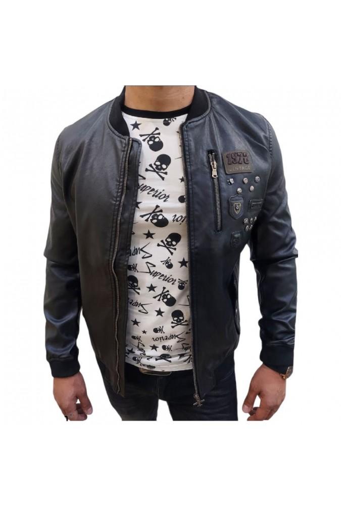 Мъжко кожено яке черно с емблеми yt9151