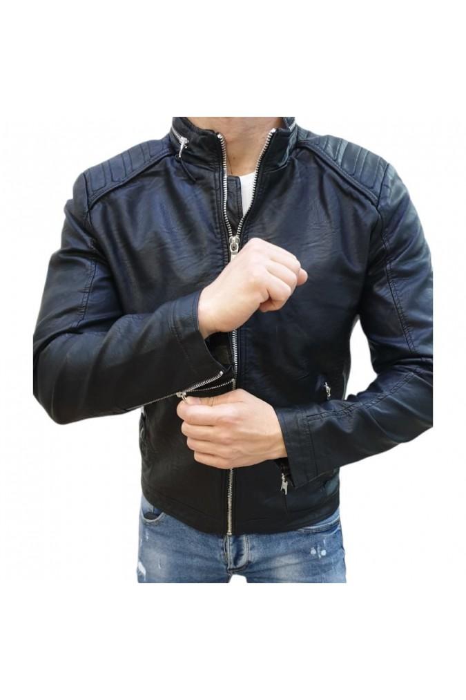 Мъжко кожено яке черно 91888 feifa