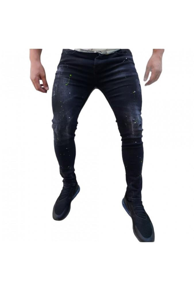 Мъжки черни дълги дънки с пръски боя JC-6813N