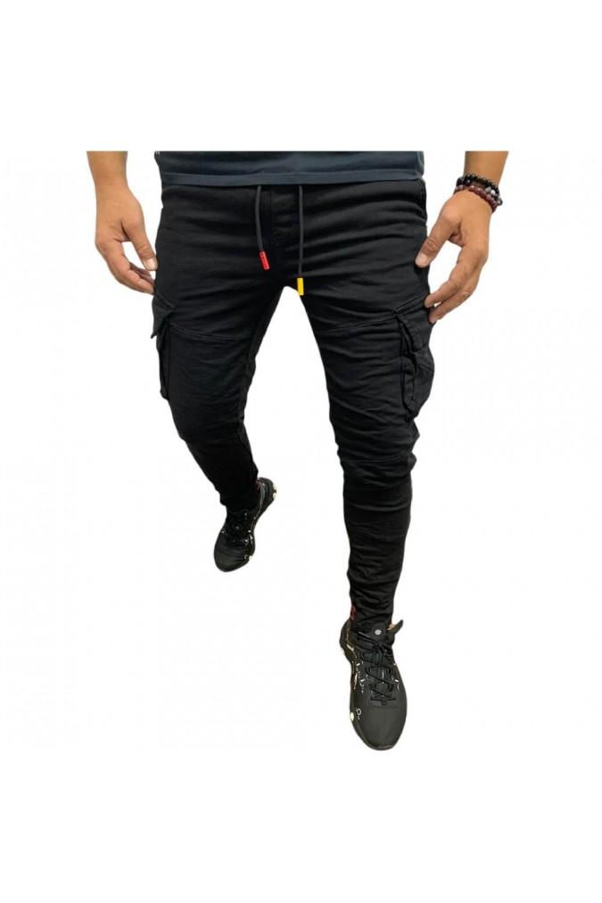 Мъжки дълъг спортен панталон черен M-1616-1