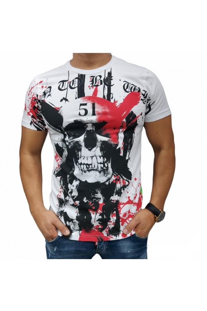 Мъжка тениска бяла с череп 51